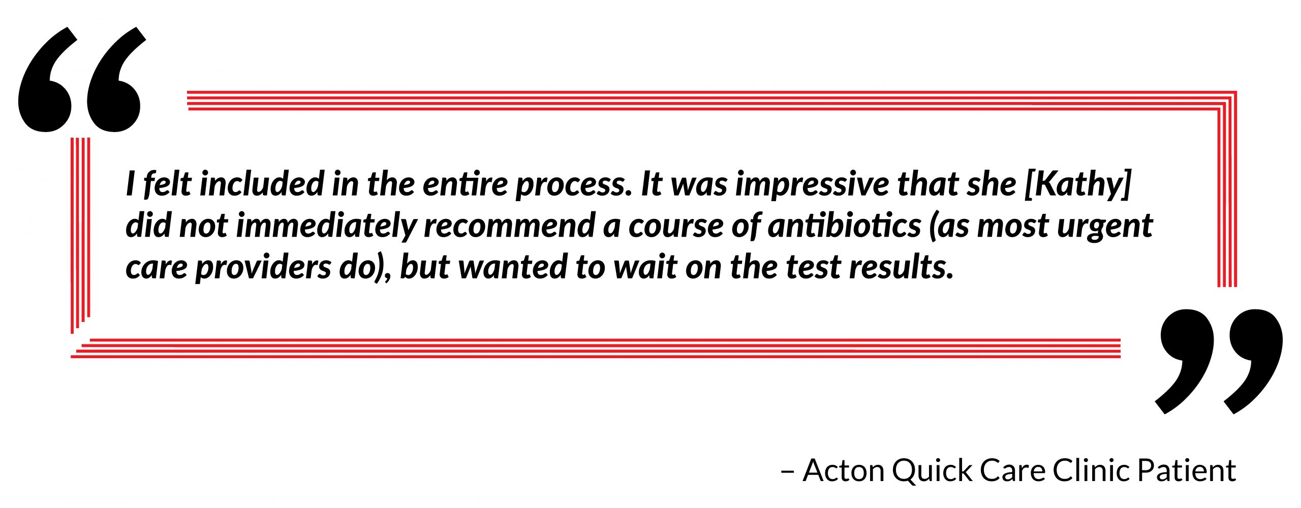 patient quote and testimonial on practice visit and treatment